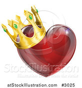 Vector Illustration of a 3d Red Shiny Heart with a King Crown by AtStockIllustration
