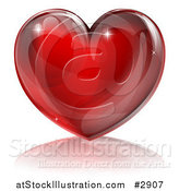 Vector Illustration of a 3d Red Sparkly Heart and Reflection by AtStockIllustration