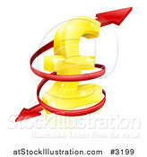 Vector Illustration of a 3d Red Spiraling Arrow Around a Golden Lira Pound Currency Symbol by AtStockIllustration