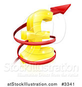 Vector Illustration of a 3d Red Spiraling up Arrow Around a Golden Lira Pound Currency Symbol by AtStockIllustration