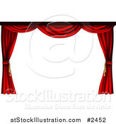 Vector Illustration of a 3d Red Theater Stage Curtains Pulled to the Sides by AtStockIllustration