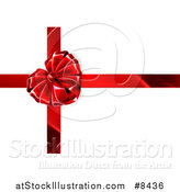 Vector Illustration of a 3d Red Valentines Day Gift Heart Ribbon Bow over White by AtStockIllustration