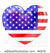 Vector Illustration of a 3d Reflective American Flag Heart by AtStockIllustration