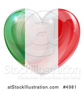 Vector Illustration of a 3d Reflective Italian Flag Heart by AtStockIllustration