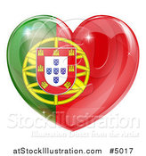 Vector Illustration of a 3d Reflective Portugese Flag Heart by AtStockIllustration