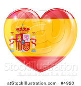 Vector Illustration of a 3d Reflective Spanish Flag Heart by AtStockIllustration