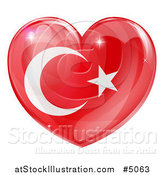 Vector Illustration of a 3d Reflective Turkish Flag Heart by AtStockIllustration