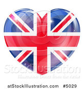 Vector Illustration of a 3d Reflective Union Jack British Flag Heart by AtStockIllustration