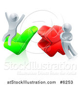 Vector Illustration of a 3d Right and Wrong Silver Men Cheering and Pouting with X and Check Marks by AtStockIllustration