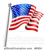 Vector Illustration of a 3d Rippling American Flag on a Silver Pole by AtStockIllustration