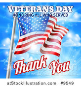 Vector Illustration of a 3d Rippling American Flag with Veterans Day Honoring All Who Served Thank You Text and Sky by AtStockIllustration