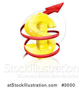 Vector Illustration of a 3d Rising Price Arrow Circling a Golden Dollar Symbol by AtStockIllustration