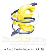Vector Illustration of a 3d Rising Price Arrow Circling a Golden Euro Symbol by AtStockIllustration