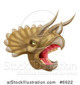 Vector Illustration of a 3d Roaring Angry Triceratops Dino Head by AtStockIllustration