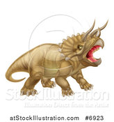 Vector Illustration of a 3d Roaring Angry Triceratops Dinosaur Facing Right by AtStockIllustration
