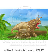 Vector Illustration of a 3d Roaring Angry Triceratops Dinosaur in a Landscape by AtStockIllustration