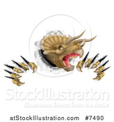 Vector Illustration of a 3d Roaring Angry Triceratops Dinosaur Shredding Through a Wall by AtStockIllustration