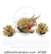 Vector Illustration of a 3d Roaring Angry Triceratops Dinosaur Slashing Through a Wall by AtStockIllustration