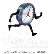 Vector Illustration of a 3d Running Wall Clock Character by AtStockIllustration
