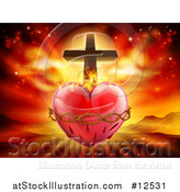 Vector Illustration of a 3d Sacred Heart with Fire Thorns and a Cross over Mountains by AtStockIllustration