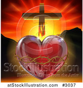 Vector Illustration of a 3d Sacred Heart with Fire Thorns Mountains and a Cross by AtStockIllustration