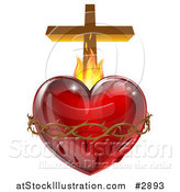 Vector Illustration of a 3d Sacred Heart with Flames Thorns and a Cross by AtStockIllustration