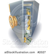 Vector Illustration of a 3d Safe with Money and Gold Falling out by AtStockIllustration