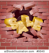 Vector Illustration of a 3d Sale Breaking down Wall by AtStockIllustration