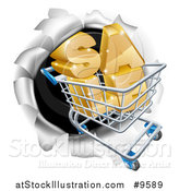 Vector Illustration of a 3d SALE Shopping Cart Breaking Through a Wall by AtStockIllustration