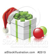 Vector Illustration of a 3d Santa Hat on a Gift Box with Baubles by AtStockIllustration