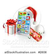 Vector Illustration of a 3d Santa Hat on a Touch Phone with a Bauble Cracker and Christmas Gift by AtStockIllustration