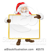 Vector Illustration of a 3d Santa Holding and Pointing to a Blank Sign by AtStockIllustration