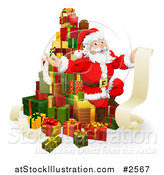 Vector Illustration of a 3d Santa Sitting on a Stack of Gifts with His List by AtStockIllustration
