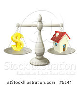 Vector Illustration of a 3d Scale Comparing a Dollar Currency Symbol and a House by AtStockIllustration