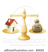 Vector Illustration of a 3d Scale Comparing a Dollar Money Bag and a House by AtStockIllustration