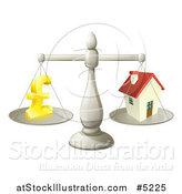 Vector Illustration of a 3d Scale Comparing a Pond Currency Symbol and a House by AtStockIllustration