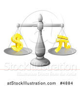 Vector Illustration of a 3d Scale Comparing the Dollar and Yuan by AtStockIllustration