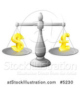 Vector Illustration of a 3d Scale Weighing Dollar and Pound Currency Symbols by AtStockIllustration