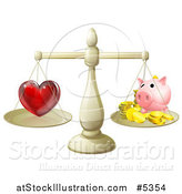 Vector Illustration of a 3d Scale Weighing Love and a Piggy Bank by AtStockIllustration