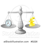 Vector Illustration of a 3d Scale with Balanced Time and Money Pound Symbol by AtStockIllustration