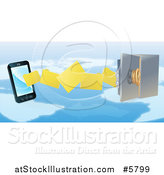 Vector Illustration of a 3d Secure Cell Phone Transfering Backup Files to a Safe over a Map by AtStockIllustration