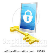 Vector Illustration of a 3d Secure Locked Smart Phone and Skeleton Key by AtStockIllustration