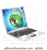 Vector Illustration of a 3d Security Padlock Emerging from a Laptop Computer by AtStockIllustration