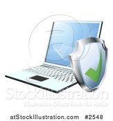 Vector Illustration of a 3d Security Shield by a Laptop Computer by AtStockIllustration