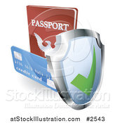 Vector Illustration of a 3d Security Shield Credit Card and Passport by AtStockIllustration