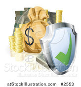 Vector Illustration of a 3d Security Shield with Cash Coins and a Money Bag by AtStockIllustration