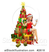Vector Illustration of a 3d Sexy Christmas Pinup Woman Sitting with Drinks on a Tree of Gifts by AtStockIllustration