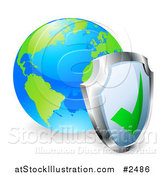 Vector Illustration of a 3d Shield Against a Bright World Globe by AtStockIllustration