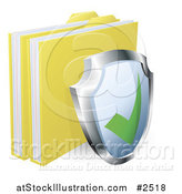 Vector Illustration of a 3d Shield and Protected Files by AtStockIllustration