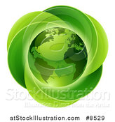 Vector Illustration of a 3d Shiny Earth Globe over a Circle of Leaves by AtStockIllustration
